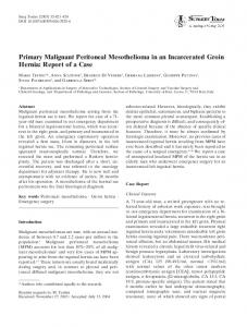 Primary Malignant Peritoneal Mesothelioma in an ... - Springer Link