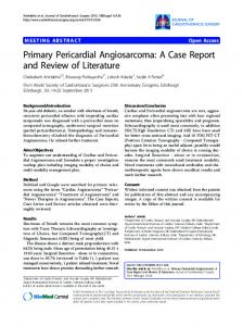 Primary Pericardial Angiosarcoma - Journal of Cardiothoracic Surgery