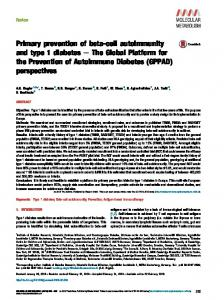 Primary prevention of beta-cell autoimmunity and type 1 ... - GPPAD