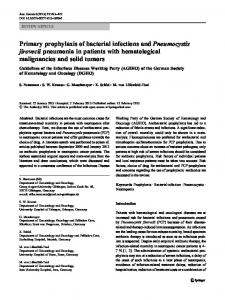 Primary prophylaxis of bacterial infections and Pneumocystis jirovecii ...