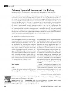 Primary Synovial Sarcoma of the Kidney - Journal of the Formosan ...