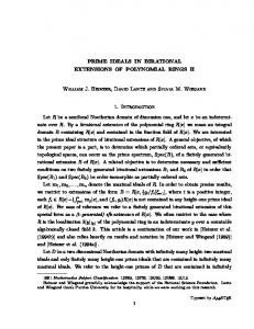 PRIME IDEALS IN BIRATIONAL EXTENSIONS OF ... - Purdue Math