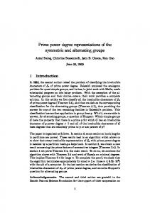 Prime power degree representations of the ... - Semantic Scholar