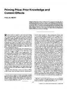 Priming Price: Prior Knowledge and Context Effects