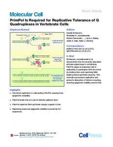 PrimPol Is Required for Replicative Tolerance of G Quadruplexes in