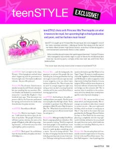 Princess Mia's Interview with teenSTYLE Magazine - Meg Cabot