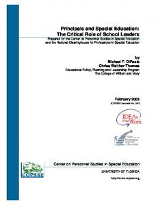 Principals and Special Education - Personnel Center