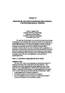 PRINCIPLES AND APPLICATIONS OF EDUCATIONAL AND ...