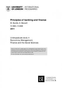 Principles of banking and finance - University of London ...