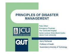 PRINCIPLES OF DISASTER MANAGEMENT