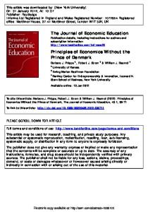 Principles of Economics Without the Prince of Denmark - SSRN papers