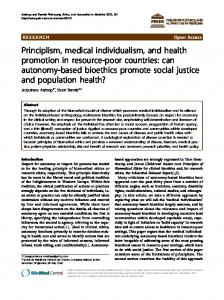Principlism, medical individualism, and health promotion in resource ...