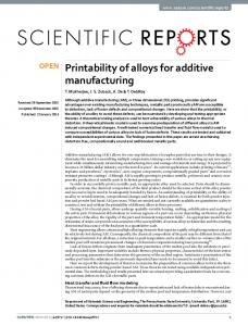Printability of alloys for additive manufacturing - Nature