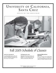 Printable Fall 2005 Schedule of Classes - Office of the Registrar
