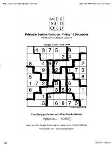 Printable Sudoku Variation - Friday 16 December - mrnelsonmath