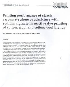 Printing performance of starch carbamate alone or