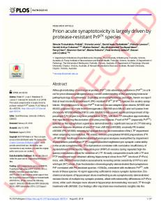 Prion acute synaptotoxicity is largely driven by protease ... - Plos