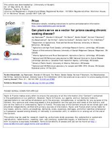 Prion Can plants serve as a vector for prions ...