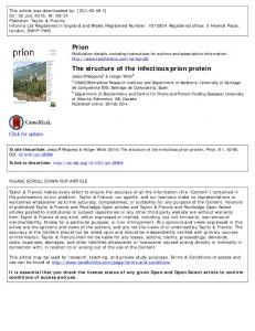 Prion The structure of the infectious prion protein
