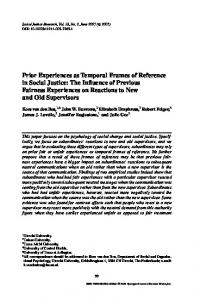 Prior Experiences as Temporal Frames of Reference in Social Justice ...