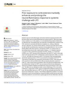 Prior exposure to corticosterone markedly enhances and ... - PLOS
