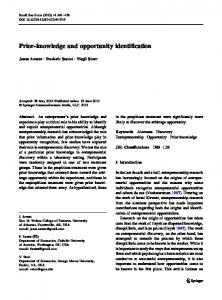 Prior-knowledge and opportunity identification - Springer Link