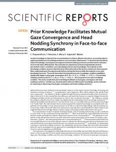 Prior Knowledge Facilitates Mutual Gaze Convergence and ... - Nature