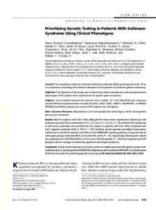 Prioritizing Genetic Testing in Patients With Kallmann Syndrome Using ...