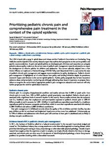 Prioritizing pediatric chronic pain and ... - Future Medicine