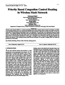 Priority Based Congestion Control Routing in Wireless Mesh Network