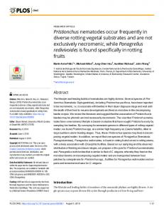 Pristionchus nematodes occur frequently in diverse rotting ... - PLOS