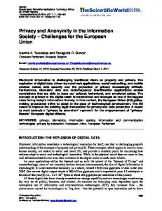 Privacy and Anonymity in the Information Society ... - Hindawi
