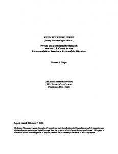 Privacy and Confidentiality Research and the US Census Bureau ...