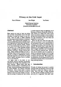 Privacy at the Link Layer - World Wide Web Consortium
