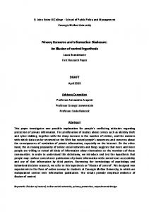 Privacy Concerns and Information Disclosure: An ... - Semantic Scholar