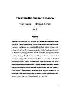 Privacy in the Sharing Economy - timm teubner