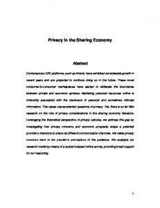 Privacy in the Sharing Economy