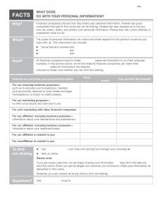 Privacy Notice Form - Opt Out with Affiliate Marketing