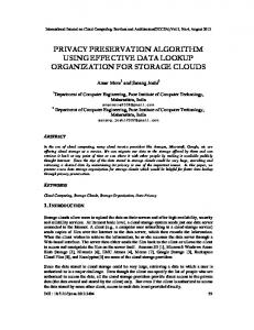 privacy preservation algorithm using effective data lookup ...