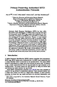 Privacy-Preserving Authorized RFID Authentication ... - Springer Link