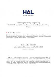 Privacy-preserving carpooling - Hal
