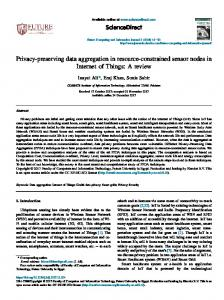 Privacy-preserving data aggregation in resource-constrained