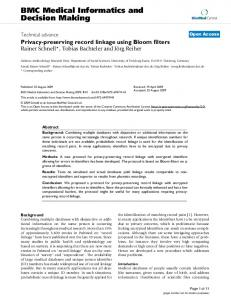 Privacy-preserving record linkage using Bloom filters
