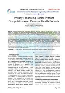 Privacy-Preserving Scalar Product Computation over ... - IJCERT