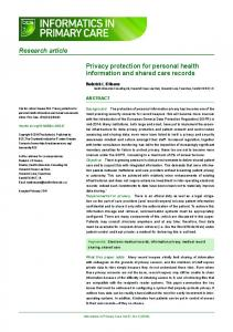 Privacy protection for personal health information and shared care ...