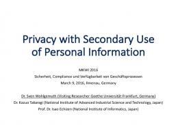 Privacy with Secondary Use of Personal Information