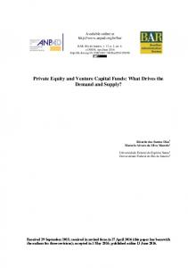 Private Equity and Venture Capital Funds: What Drives the ... - SciELO