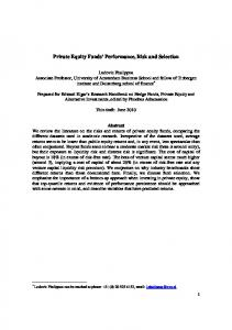 Private Equity Funds' Performance, Risk and Selection - SSRN papers