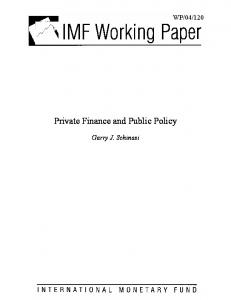 Private Finance and Public Policy - CiteSeerX