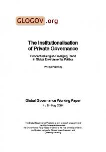 Private Governance Institutions - Global Governance Project